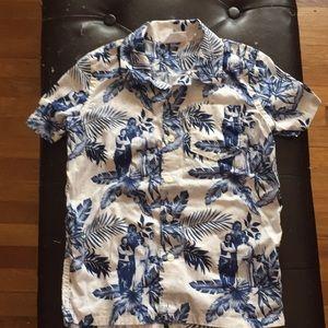 Gap Star Wars Boys Hawaiian Print Shirt Sz S